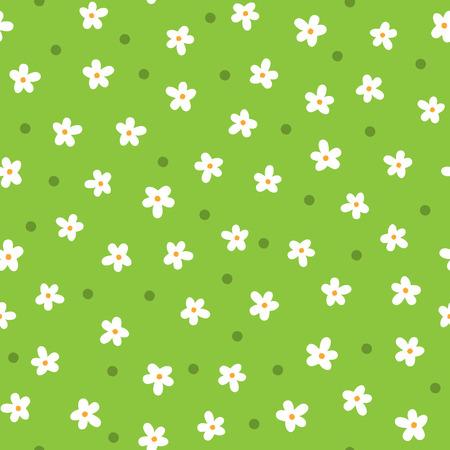 Lindas margaritas dibujadas a mano en dibujos animados de patrones sin fisuras florales en color blanco, naranja, verde.