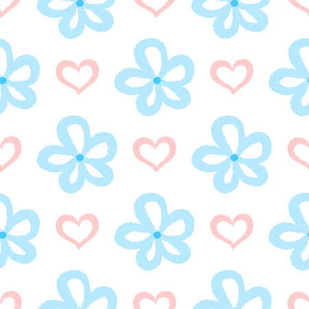 Repeated flowers and hearts. Cute seamless pattern for children. Painted by hand with rough brush. Sketch, watercolour, graffiti. White, pink, blue colour. Vector illustration. Illustration