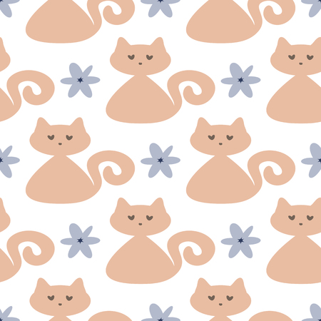 Repeated cute cats and flowers. Seamless pattern for children. Brown, blue, white color. Vector illustration.