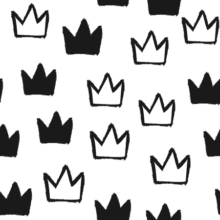Repeated silhouettes and outlines of crowns. Seamless pattern. Grunge, graffiti, ink, watercolor, sketch. Vector illustration.