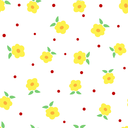 Cute flowers with leaves and polka dots. Floral seamless pattern. White, yellow, green, red, orange colour. Vector illustration.