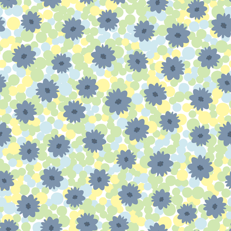 Flowers on motley background of circles. Colorful seamless pattern. White, yellow, green, blue, black colour. Vector illustration.