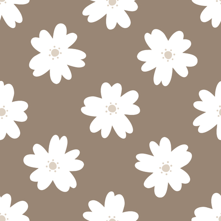Simple floral seamless pattern. Repeated white flowers on a brown background. Vector illustration.