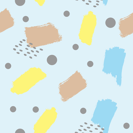 Abstract seamless pattern with brush strokes and circles. Modern art. Blue, yellow, brown, dark gray colour. Vector illustration. Иллюстрация
