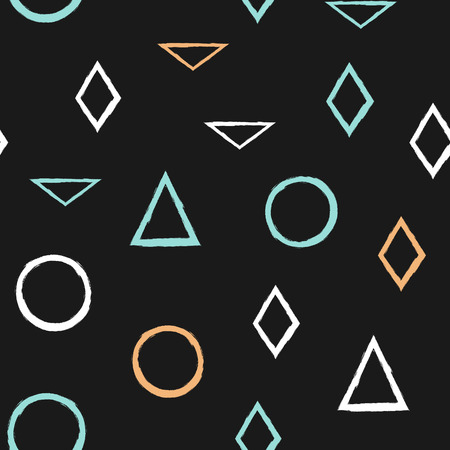 Geometric seamless pattern. Colored circles, triangles, rhombuses. Painted by hand with rough brush. Vector illustration.