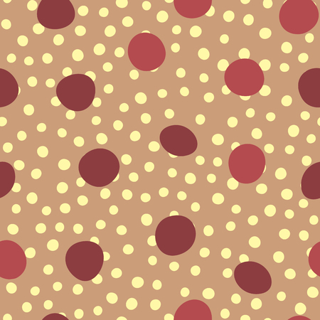 Randomly scattered round spots. Seamless pattern. Drawn by hand.