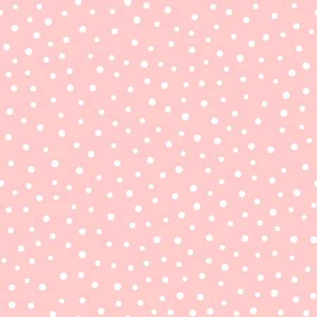 Irregular polka dots. Trendy seamless pattern. White circles on pink background.