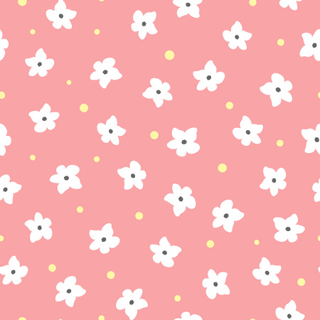 White flowers and yellow dots on pink background. Floral seamless pattern.
