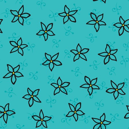 Seamless pattern with flowers and floral elements. Sketch drawn by hand. 向量圖像