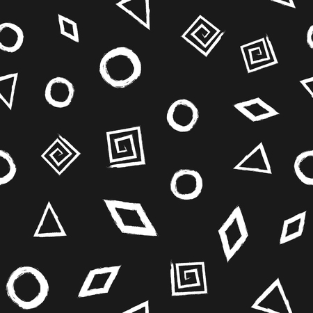 Seamless pattern with geometric shapes painted rough brush. White elements on a black background. Ilustração