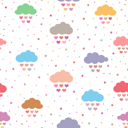 Cute seamless pattern for children. Multicolored clouds with raindrops in the form of hearts and polka dot. Vector illustration.