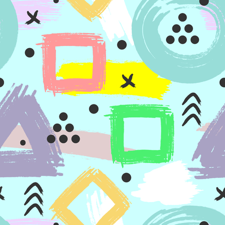 Abstract geometric pattern drawn by brush. Vector illustration for children. Grunge, sketch, watercolour. Vector illustration. Çizim