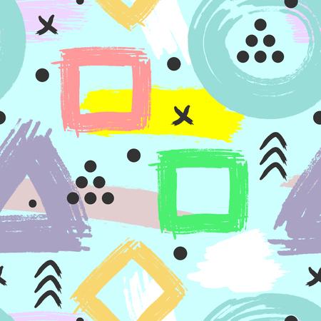 Patrón geométrico abstracto dibujado por el cepillo. Ilustración vectorial para niños. Grunge, boceto, acuarela. Ilustración vectorial Foto de archivo - 92882557