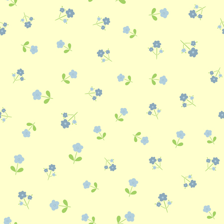 Repeated cute flowers with leaves Seamless floral pattern for feminine and girlish design. Illustration