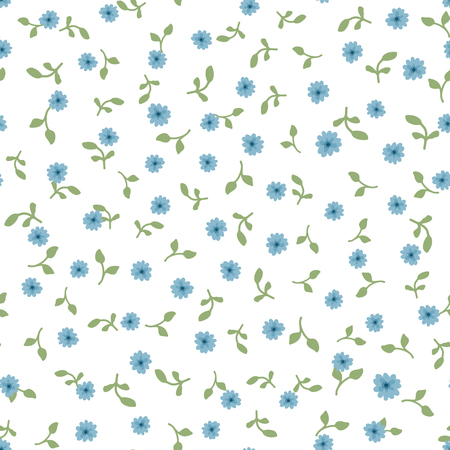 Cute floral pattern Repeated tiny blue flowers and green leaves on white backdrop Illustration