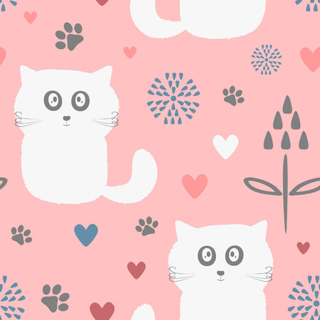 Cute seamless pattern with funny cats, flowers, hearts and paw prints. Drawn by hand. Endless vector illustration for children.