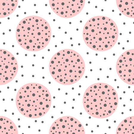 Cute geometric seamless pattern with circles. Drawn by hand. Endless vector illustration for children. 矢量图像