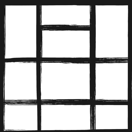 Template for photo collage. Square background with rectangular frames. Grunge, sketch, watercolor. Vector illustration. Vettoriali