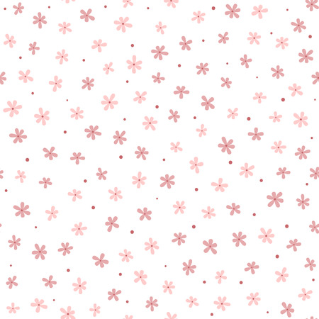 Cute seamless pattern with small flowers and round dots. Endless floral print. Girly vector illustration. Çizim
