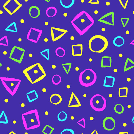 Colorful geometric seamless pattern. Drawn by hand with rough brush. Sketch, grunge, doodle. Endless vector illustration for children.