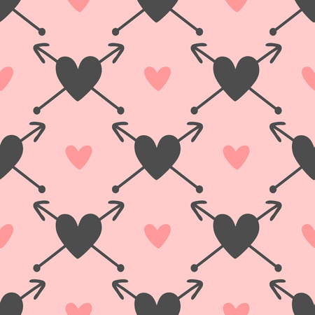 Repeated hearts with arrows. Cute seamless pattern. Drawn by hand. Romantic endless print. Vector illustration.