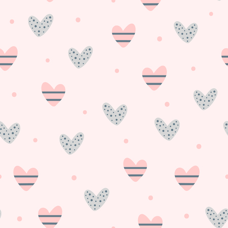 Repeating cute hearts and round dots. Romantic seamless pattern. Endless lovely print. Vector illustration.