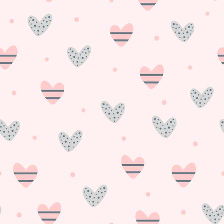 Wiederholte süße Herzen und runde Punkte. Romantisches nahtloses Muster. Endlos schöner Druck. Vektorillustration. Vektorgrafik