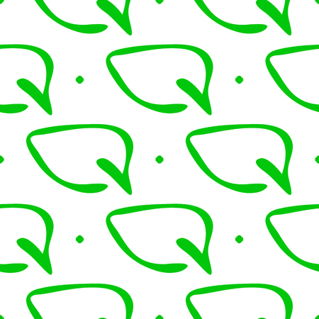 Organic seamless pattern with leaves drawn by hand. Sketch, doodle. Endless vector illustration.