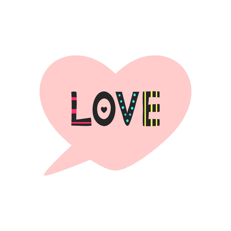 Speech bubble in the shape of heart. Cartoon text Love. Isolated romantic sticker, tag, print, banner, card. Cute vector illustration. Pink, black, blue, yellow.