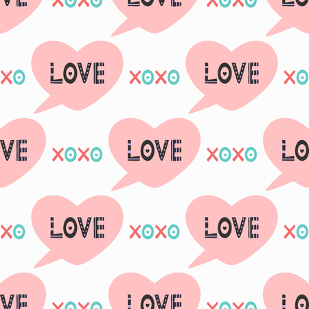 Cute romantic seamless pattern. Bubble speech in the shape of heart with text Love and abbreviation Xoxo. Pink, black, blue, white, purple. Endless cartoon vector illustration for children. Illustration