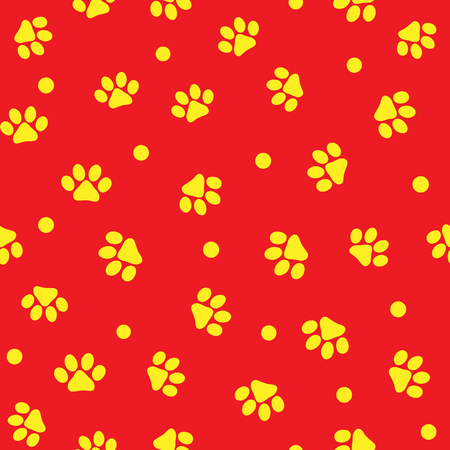 Animal paw prints and round dot. Cute seamless pattern for pets. Endless vector illustration. Çizim