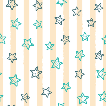Cute stars on background with vertical stripes. Seamless pattern drawn by hand. Modern vector illustration. Vettoriali