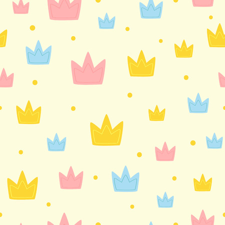Repeated colored crown and round dots. Cute girly seamless pattern. Endless print for girls. Cartoon vector illustration.
