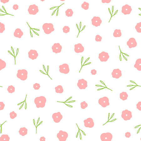 Repeated cute flowers and leaves drawn by hand. Nice floral seamless pattern. Endless girlish print. Girly vector illustration. Illustration