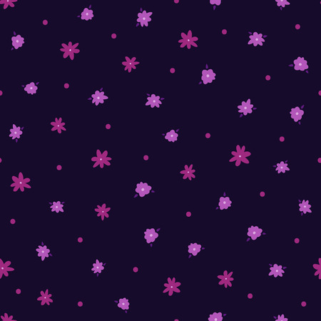 Repeated small flowers with leaves and round dots. Floral seamless pattern for women. Endless feminine print. Vector illustration.