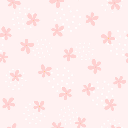 Girlish seamless pattern with cute flowers. Endless girly print. Nice vector illustration. Иллюстрация