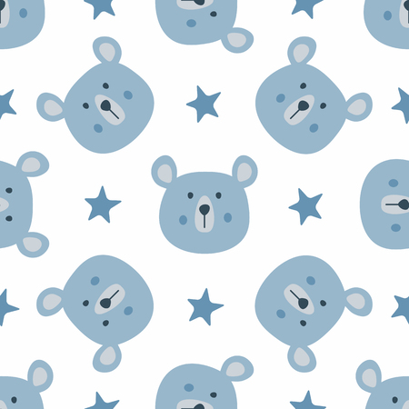 Repeated stars and heads of funny bears. Cute seamless pattern for children. Endless animal print. Vector illustration. Ilustrace