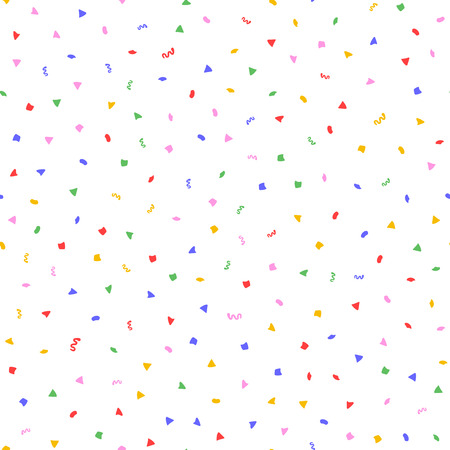 Randomly scattered colorful confetti. Festive seamless pattern. Endless fun print. Colored  illustration. White, blue, green, yellow, red, purple.