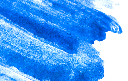 Texture of blue watercolor paint on white paper. Rectangular watercolour background. Stock Photo