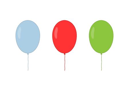 Blue, red and green isolated balloons. Cartoon vector illustration. Иллюстрация