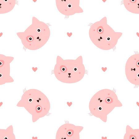 Repeated head cats and hearts drawn by hand. Seamless pattern with cute animal. Endless girlish print. Girly vector illustration.