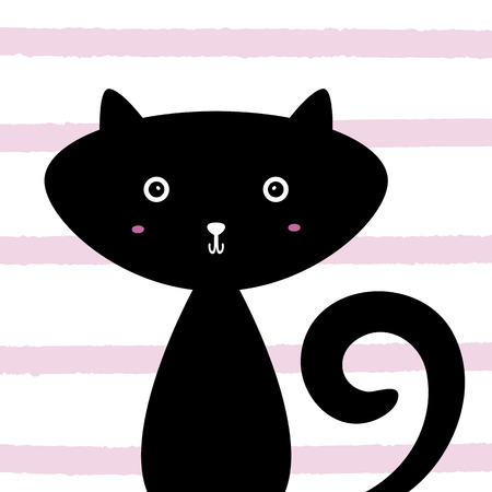 Cute funny cat. Cartoon animal. Striped background. Print design for childrens t-shirts, cards, posters. Vector illustration.
