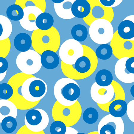 Repeated colored circles. Geometric seamless pattern with round shapes drawn by hand. Endless print for children. Vector illustration. Blue, yellow, white. Иллюстрация