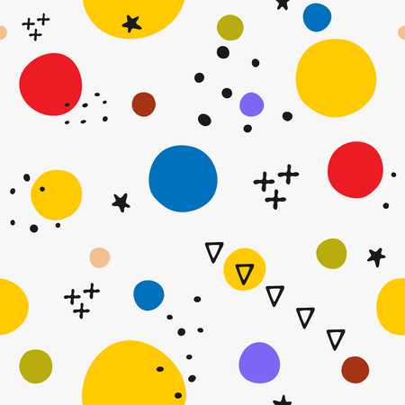 Abstract seamless pattern with geometric shapes drawn by hand. Endless trendy print.   illustration. Gray, orange, blue, black, red, brown.