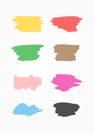 Set of colored marker smears. Sketch, grunge, scrawl. illustration drawn by hand. Yellow, red, green, brown, pink, purple, blue, black isolated elements.