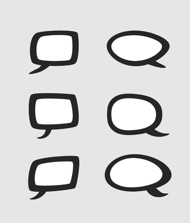 Set of rectangular and rounded speech bubbles. Collection of isolated stickers. Иллюстрация