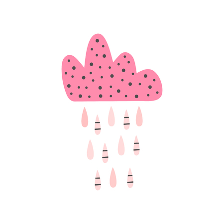 Cute isolated cloud with raindrops. Girly print, poster, card.   illustration for girls.
