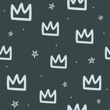 Repeated round dots, crowns and stars drawn by hand. Seamless pattern for children. Sketch, doodle, scribble. Endless trend print. Иллюстрация