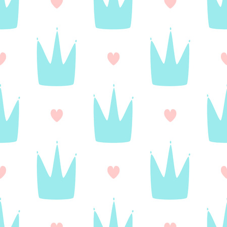 Repeating hearts and crowns drawn by hand. Cute simple seamless pattern for girls. Endless girly print. Vector illustration. Иллюстрация