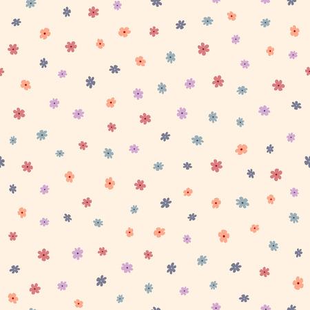 Repeated small cute flowers. Simple floral seamless pattern. Endless feminine print. Vector illustration. Vektorové ilustrace